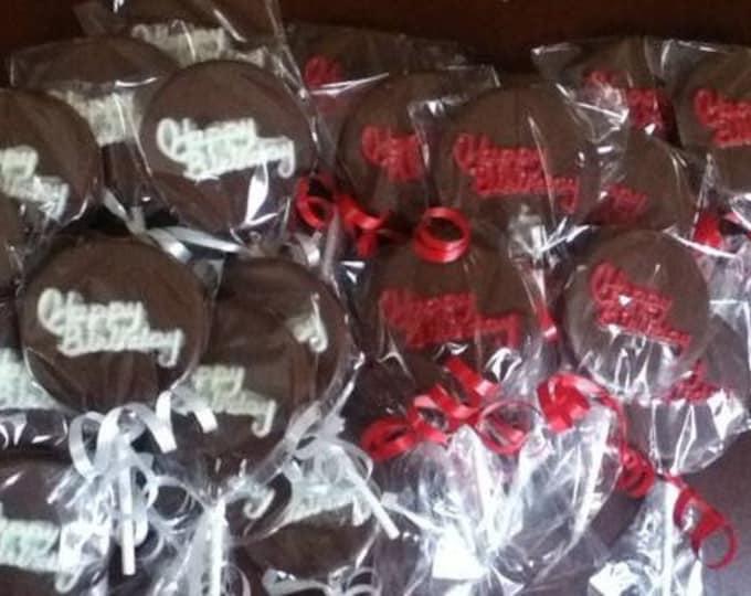 24 Hand-painted Custom Made Chocolate Simple Happy Birthday Lollipops
