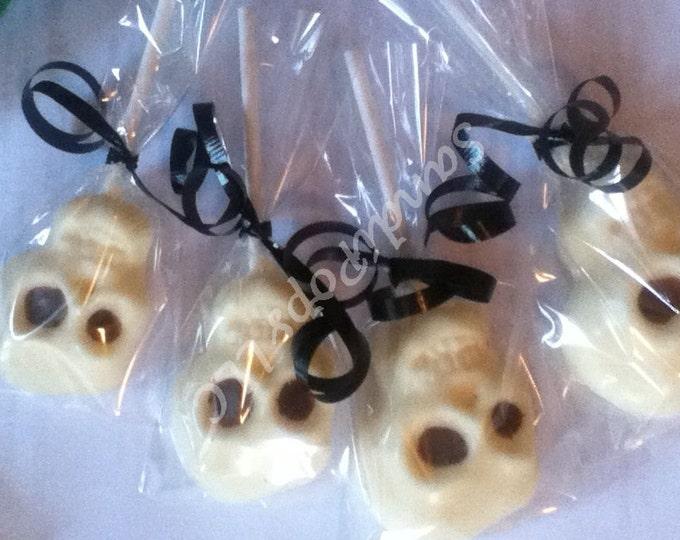 24 skull, skeleton, creepy, spooky, halloween chocolate lollipops