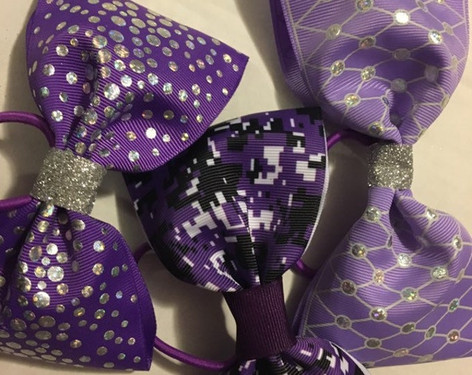 THREE I love purple and violet and silver sparkles- cheerleader, dancer, princess tail less hair bows