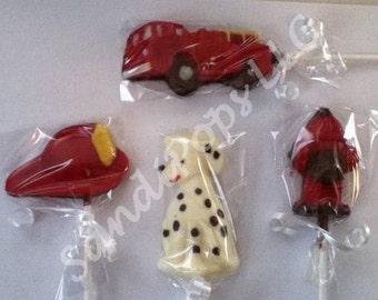 24 Fire man, truck, hydrant, hat, dalmatian boy birthday party chocolate lollipop