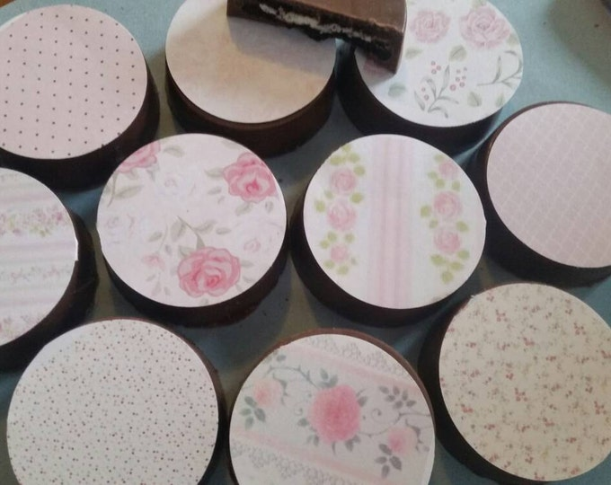 24 shabby chic floral garden tea baby bridal shower party edible image chocolate covered oreos or chocolate lollipops
