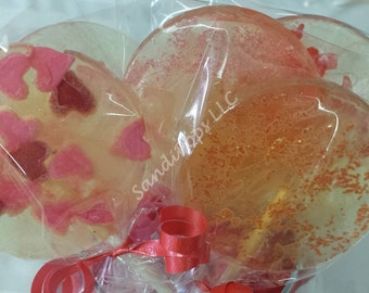 12 Valentines- Glittery, sparkly, colorful, flavorful hard candy lollipops