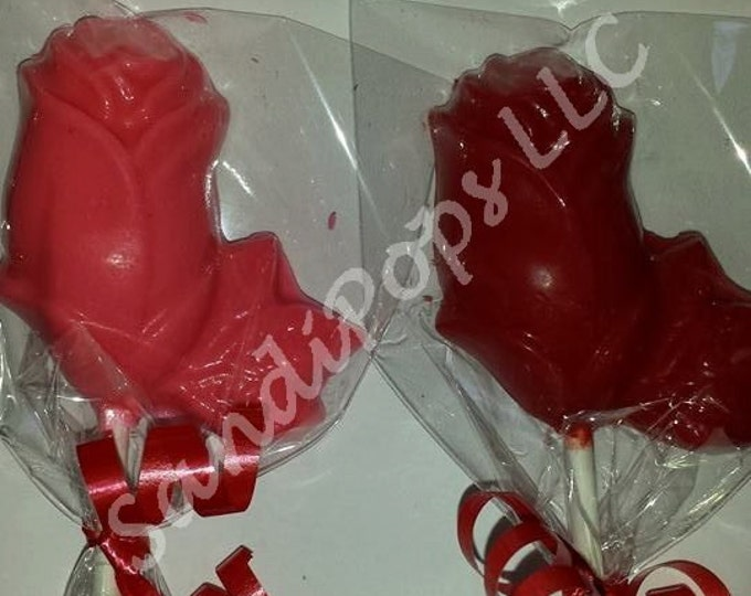 24 solid color Chocolate Rose lollipops