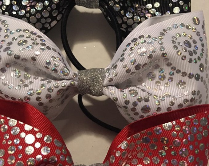 THREE Silver glitter sparkling tail less cheer and dance bows with no clasp ponytail holder