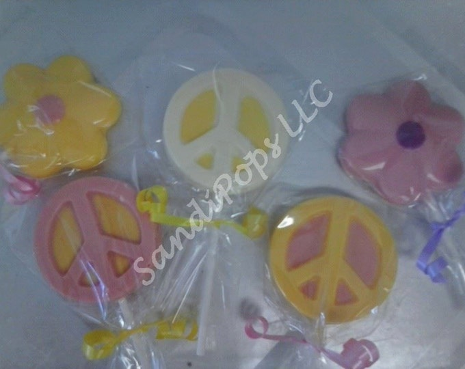 24 love, peace, happiness, hippy, 70's party Lollipops- PEACE SIGNS