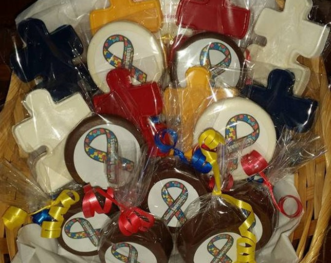 FREE AUCTION ITEM w purchase of 100 Autism Awareness Fundraising Puzzle Piece Lollipop Party Favors