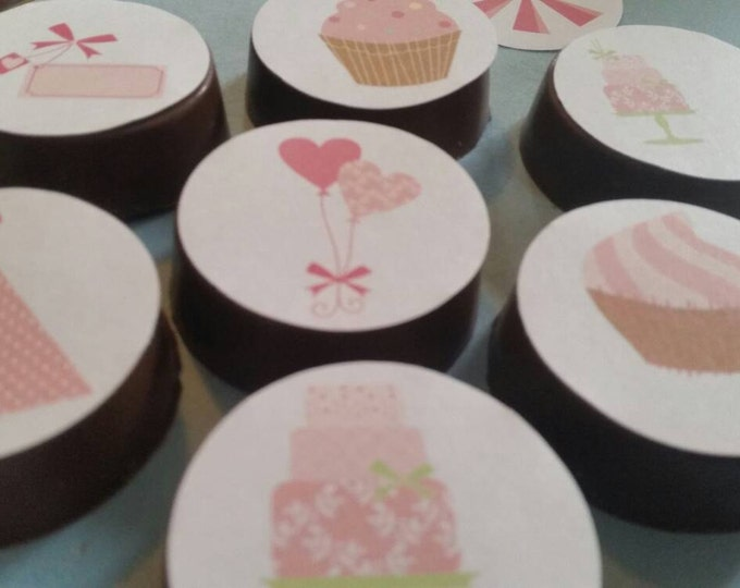 24 sassy pink pretty girl flower floral shabby chic dainty party image chocolate covered oreos or chocolate lollipops