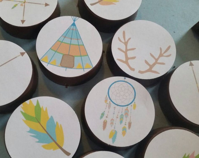 24 Indian native American outdoors camping teepee tent archery woodland party image chocolate covered oreos or chocolate lollipops