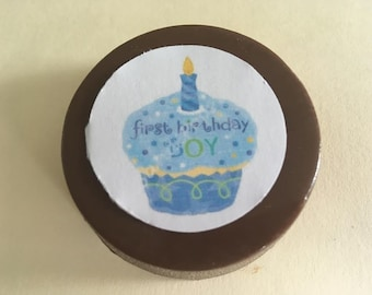 "24 ""First Birthday"" Chocolate Printed Edible lollipops cupcake, number,"