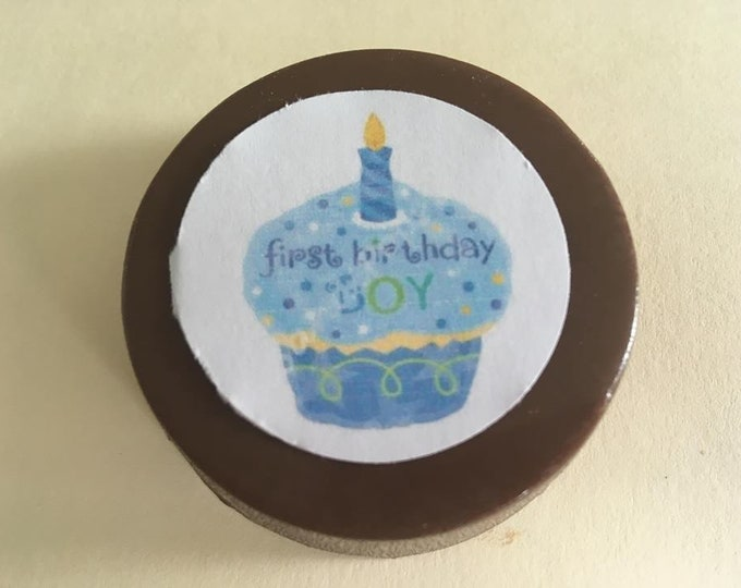 """24 """"First Birthday"""" Chocolate Printed Edible lollipops cupcake, number,"""