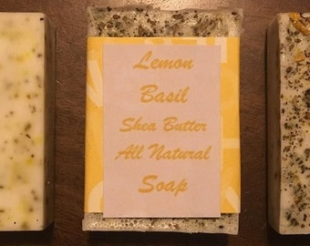 4+ bars  All Natural Shea Butter Soap- Lemon, Basil, Lavender, Bud, Oatmeal, Lemon, Tea, cinnamin, clove, orange