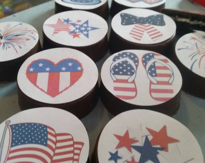 24 patriotic USA fourth of July independence day summer bbq fireworks image chocolate covered oreos or chocolate lollipops