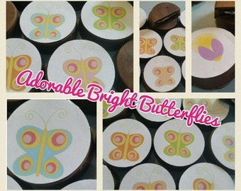 24 bright fun colorful flower butterfly and bug edible image chocolate covered oreos or chocolate lollipops