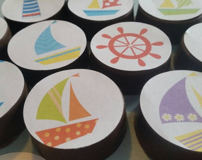 24 bright fun colorful beach summer nautical seaside edible image chocolate covered oreos or chocolate lollipops