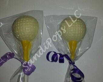 24 Golf Ball on Tee Chocolate Lollipops