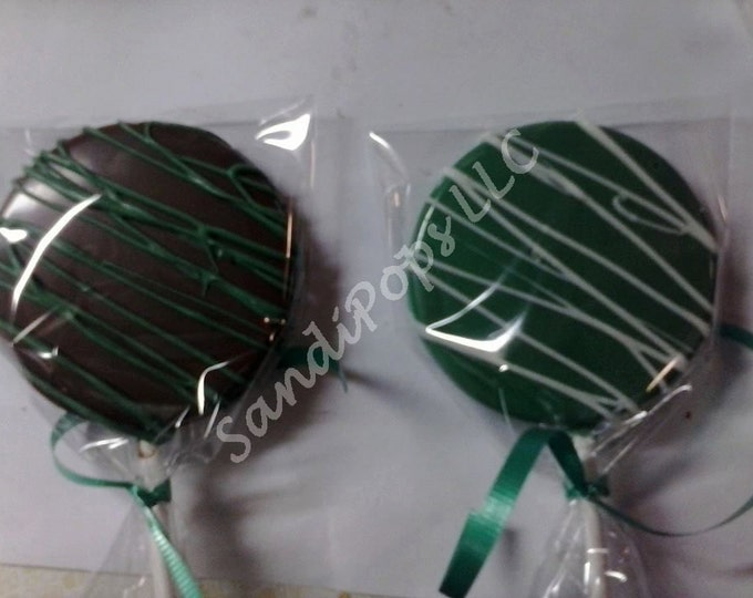 FREE SHIPPING- 24 St. Pats, Saint Patrick, Shamrock, Clover, Luck Chocolate Lollipops