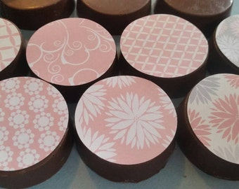 24 sassy pink pretty girl flower floral shabby chic dainty garden tea party image chocolate covered oreos or chocolate lollipops