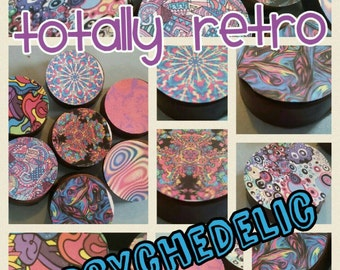 24 - 70 80 90 retro psychedelic swirl florescent party image chocolate covered oreos or chocolate lollipops