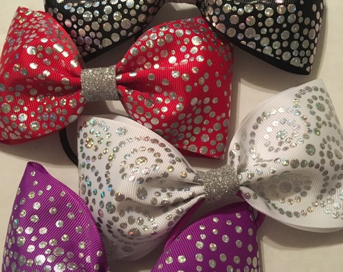 FOUR silver sparkly winter holiday tail less bow set