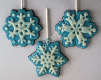 24 solid or two tone Vanilla or milk chocolate snowflake icy cold winter lollipops