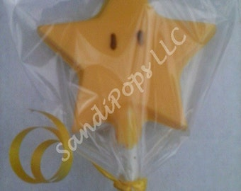 24 Star Lollipop Party Favors yellow with eyes