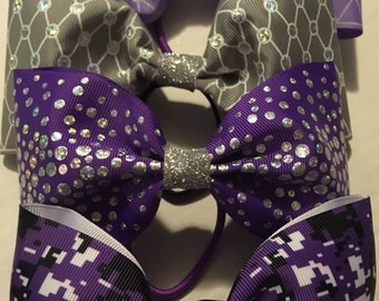 FOUR purple, silver, sparkle, glitter bows for cheerleaders, dancers and little princess that LOVE purple