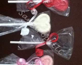 50 bite-size heart Valentine's,  Wedding, Love, Anniversary chocolate heart lollipops
