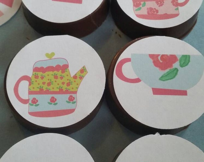 24 shabby Chic garden tea party Alice in Wonderland image chocolate covered oreos or chocolate lollipops
