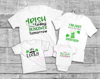 Saint Patrick's, St. Pat's shirts, mix and match Irish, Ireland, Kisses, Beer, Lucky Shirts, shamrock, onesie, tee