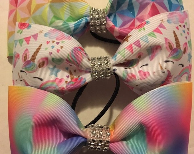 THREE Magical unicorn no tail bow package, cheer, dance, bows