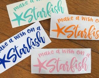 "Make a Wish on a Starfish 6""wide x 2.25""tall Custom Vinyl Decal- Use on cars, cups, signage, glass, wood. Custom Name Decal, DIY"