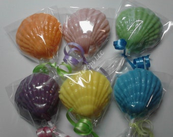 Solid Sea Shell, clams, oysters, crabs, lobsters, Chocolate Lollipops