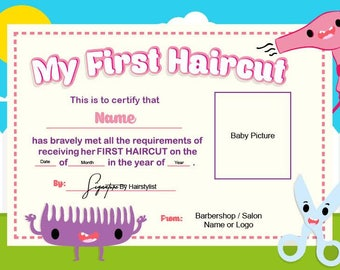 first haircut certificate baby haircut certificate 8x11 photo certificate printable file only 559dollars