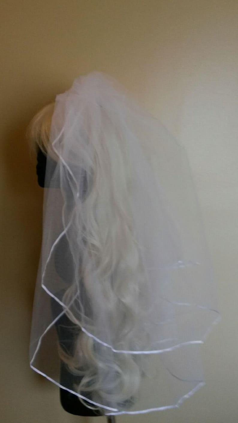 SALE12.99 and Free  ShippingBachelorette veil 28 inch Veil  SALE Beautiful white satin finish trim  FREE Domestic shipping