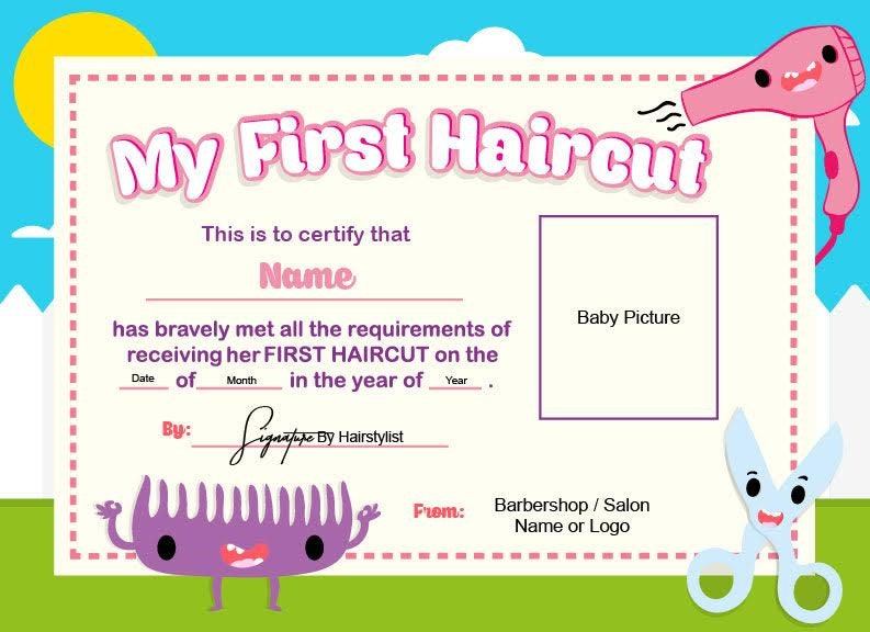 First Haircut Certificate Baby Haircut Certificate 8x11 Etsy