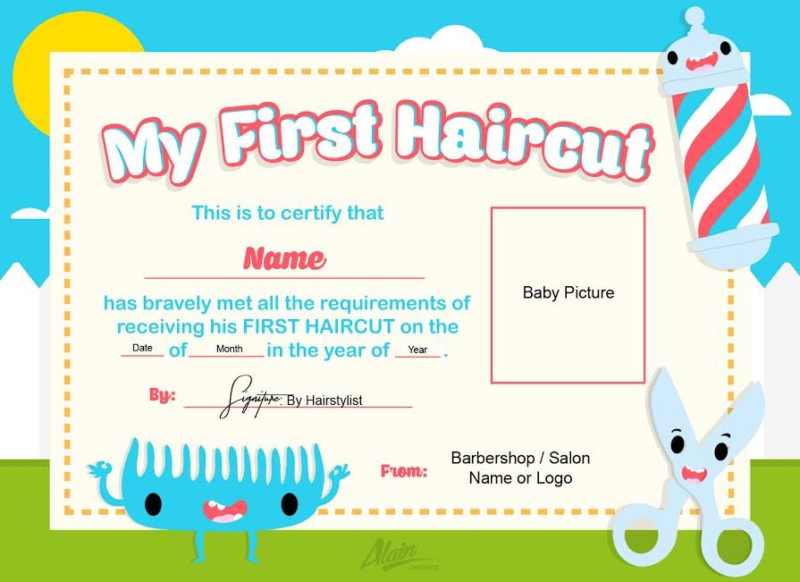 First Haircut Certificate Baby Haircut Certificate 8x10 Etsy