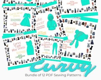 Curvy Doll Bundle of 12 PDF Sewing Patterns atelierniSHASHA designs for the Curvy fashion dolls like Barbie Made to Move   Wardrobe Styling