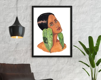 Printable Wall Art   Lady in Philodendron Imbe Variegata   Foliage Muse   Plantita   Indoor Plant   Portrait   Botanical Watercolor