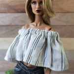Gathered Off-shoulders Top - fits most sixth-scale Fashion dolls such as FR, Poppy Parker, Barbie Made to Move Original and Curvy