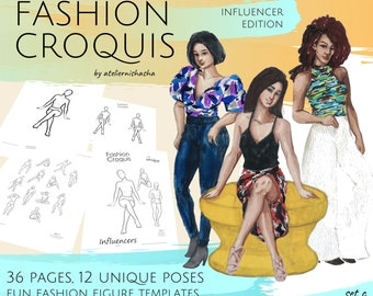 Fashion Croquis Influencer Edition Set C - 36 pages of Trace-Over Figure Sketches Templates Fashion Illustration Projects Downloadable PDF