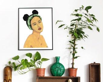 Printable Wall Art   Lady in Aglaonema Headband   Foliage Muse   Plantita   Indoor Plant   Portrait   Botanical Watercolor