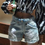 Extra-faded and Distressed Denim Shorts for Sixth-scale Fashion Dolls