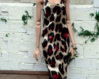 Animal-print Satin Midi Slip Dress for Fashion Royalty fashion dolls (2013 and newer bodies, formerly FR Squared)