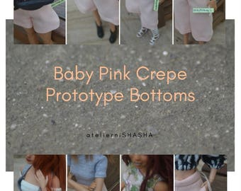 Baby Pink Crepe Prototype Bottoms for Made to Move Barbie Dolls