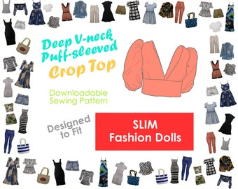 PDF Sewing Pattern - Deep V-neck Puff Sleeves Crop Top for Slim-bodied Fashion Dolls   Doll Clothes Crafting   Summer Outfit   Resort Wear