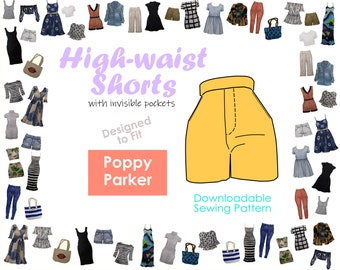 PDF Sewing Pattern - High-waist Shorts with Invisible Pockets for Poppy Parker Dolls   Miniatures Pants   Downloadable Files   DIY Crafting