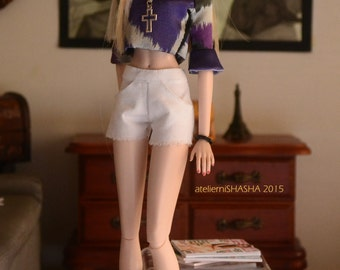 Cropped Top in Graphic Satin Shades of Violet for 12in Fashion Dolls