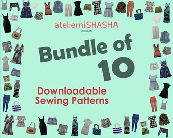 Bundle of 10 PDF Sewing Patterns - Emailed to you!