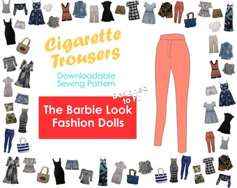 PDF Sewing Pattern - Cigarette Trousers Fit for The Barbie Look Fashion dolls   Articulated Pivotal Model Muse Barbie Basics Pants