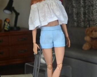 Powder Blue City Shorts for 12in Fashion Dolls